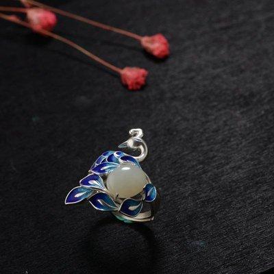 加恩 銀和田玉戒指 S925銀燒藍工藝 女款孔雀開口活圈銀戒指yly676