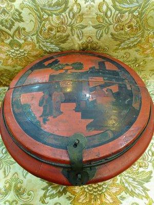 臺南城文創 老件清末民初 朱漆描墨蓋盒 收藏增值的好物件 F倉庫
