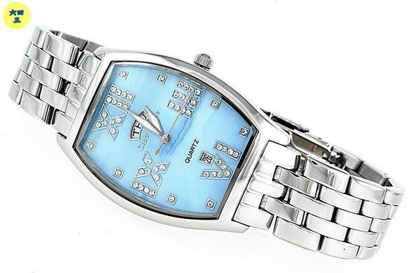 (六四三鐘錶精品店)GLOD STONE(真品)酒桶鑽型手錶..(大視窗日期)不袗錶殼及錶帶