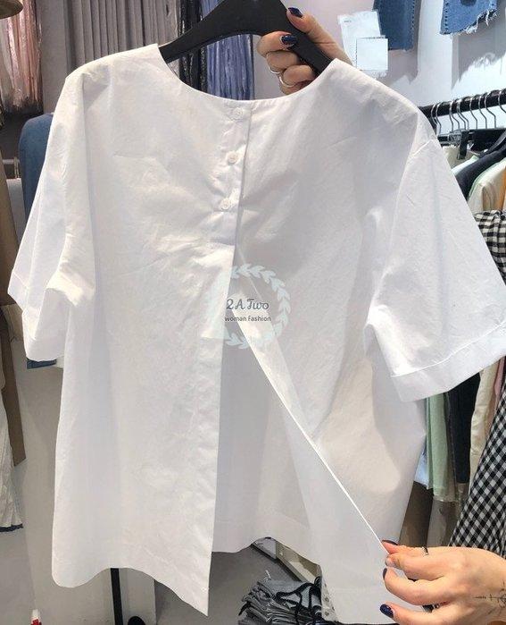 【2A Two】韓🍋簡約時尚⌒圓領開岔短袖氣質上衣襯衫『BA0638』