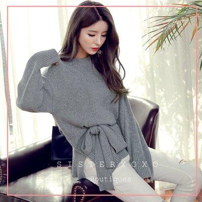 Sis KOREA style 韓國代購 顯白酒紅色 簡約灰名媛風 優雅氣質 冬裝女人味剪裁設計 顯瘦繫帶設計感 針織衫