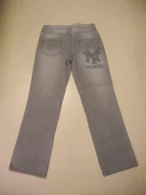 MAJOR LEAGUE BASEBALL YANKEES紐約洋基 灰色直筒牛仔褲XL 腰圍34~35吋 全新版挺漂亮