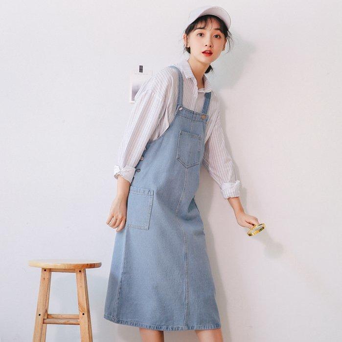 SeyeS  自然風古著基本款美式休閒牛仔吊帶裙