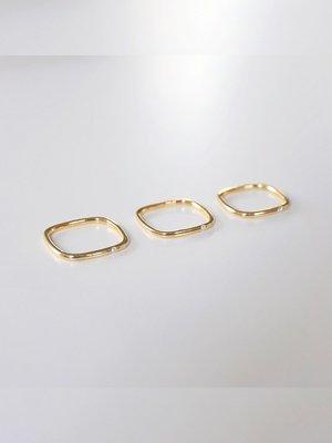 JOJO CLUB七里 方形戒指serendipity光面極簡方戒925純銀鍍18k金指環網紅