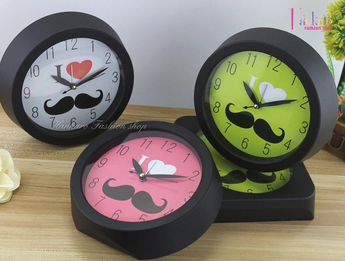 ☆[Hankaro]☆ 創意時尚鬍子鬧鐘(圓形)