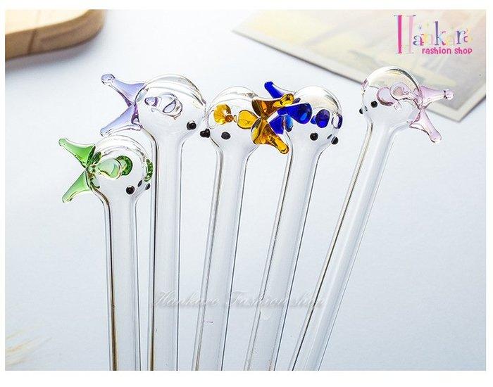 ☆[Hankaro]☆創意環保可愛彩色小魚造型玻璃吸管(微瑕疵出清)(單支)