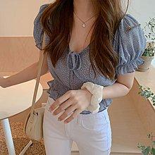 短袖T恤◎ 女人心語 ◎甜美小露鎖骨收腰顯瘦點點短袖雪紡衫(二色) 預 BW-N-T-K