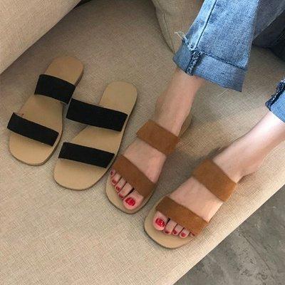 穿了就走露趾鞋涼鞋平底鞋 休閒雙排麂皮絨平底拖鞋 艾爾莎【TSE8810】
