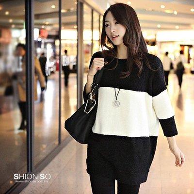 享瘦衣身中大尺碼‧經典色彩 ‧【B1225】時尚黑白拼布長版毛織上衣