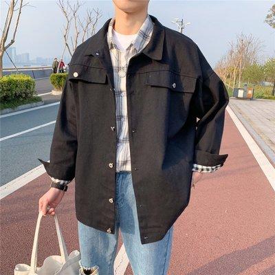 外套 春夏薄款 夾克 牛仔外套港風chic寬松工裝外套男春秋季潮流韓版上衣百搭純色復古男士夾克