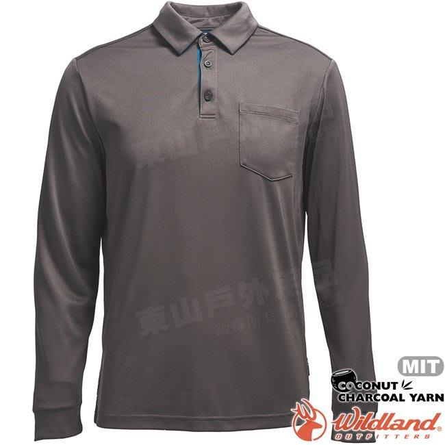 Wildland 荒野 0A71656-93深灰色 男椰炭紗本布領長袖上衣 椰碳纖維/抗UV/涼爽散熱/POLO衫