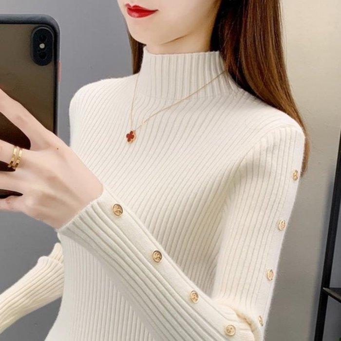 高領毛衣 半高領毛衣女2020秋冬新款修身內搭長袖洋氣針織打底衫女百搭上衣-免運 柳風向