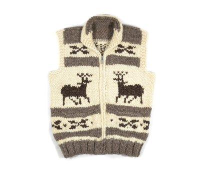 Cowichan Hand Knit Sweater Vest 加拿大製 M 麋鹿 L手工 編織 考津 背心 針織 毛衣