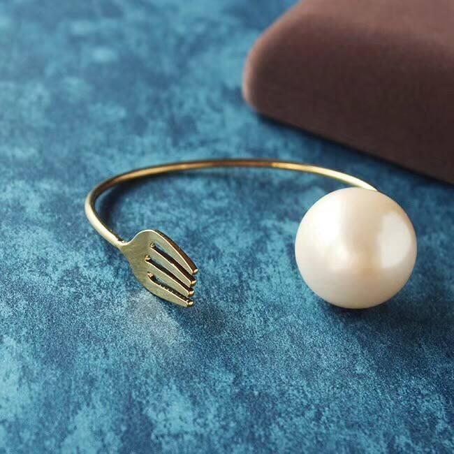 千禧禧居~銅件鍍金鑲嵌玻璃珍珠 勺子