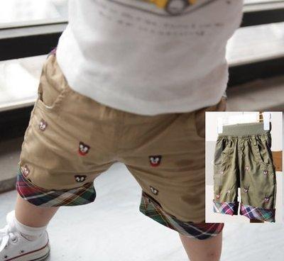 瞳瞳屋-夏款童装 刺繡小熊格子小童褲 寶寶休閒童褲-軍綠色