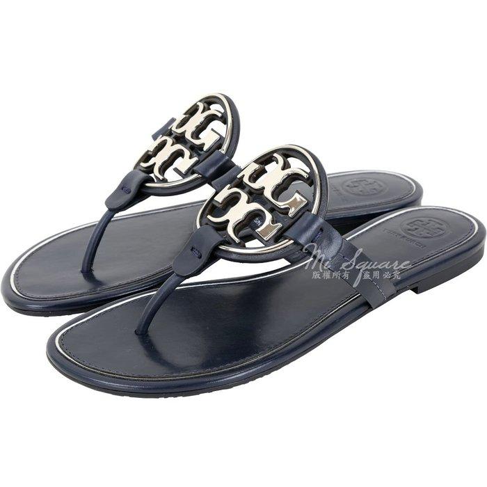 米蘭廣場 TORY BURCH Miller 品牌雙T盾牌夾腳涼鞋(深藍色) 1920732-34