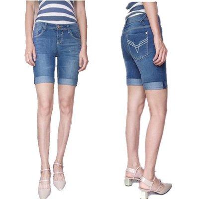 夏薄款淺藍彈力挽邊直筒牛仔短褲熱褲女四分五分褲