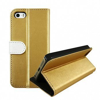 【宇浩電通】Lilycoco iPhone 5 5S SE 髮絲紋 多功能 站立 側掀 皮套 手機套 殼 香檳金