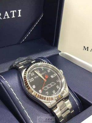 請支持正貨,停產款‼瑪莎拉蒂Maserati  44m不銹鋼男表,防水100米,黑色簡單錶盤,全數字刻度,2年國際聯保