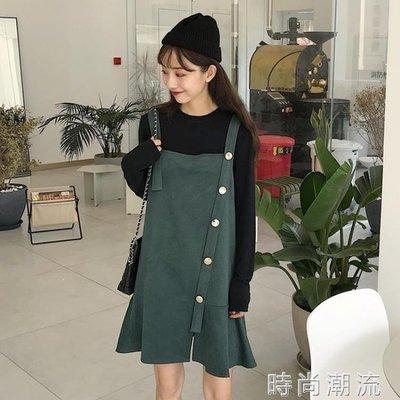 ZIHOPE 吊帶裙裙子女韓版CHIC仿麂皮絨寬鬆荷葉邊中長款洋裝ZI812