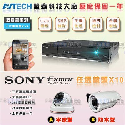 【萬事達監控批發】陞泰 套餐10支-AHD/TVI 16路 5百萬 監控主機+SONY 1080P 防水型/球型 監視器