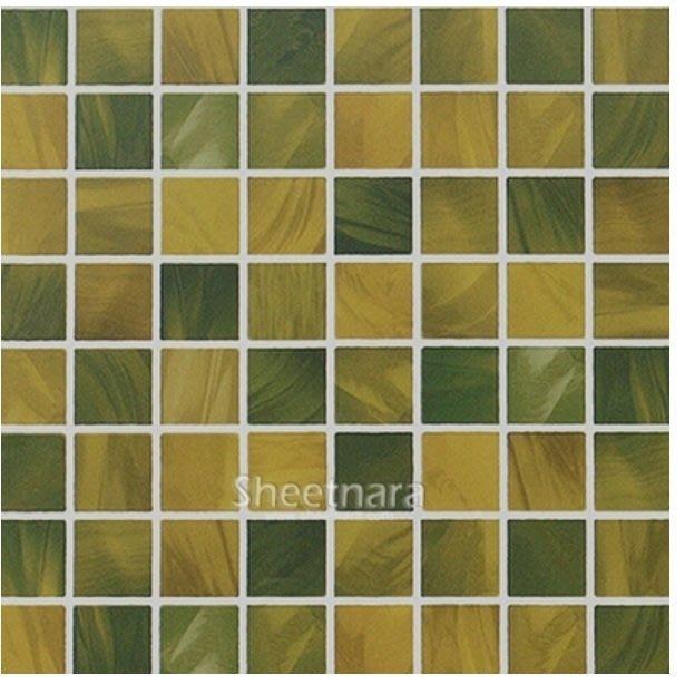 小妮子的家@韓國進口廚房浴室防水立體馬賽克自粘瓷磚貼~黃綠色~寬50cm