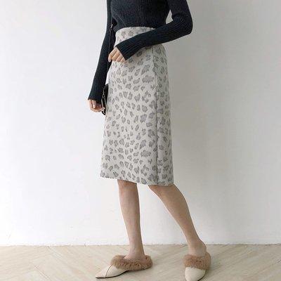 韓版女裝!針織半身裙女秋冬絨面高腰豹紋半身包臀裙J413D