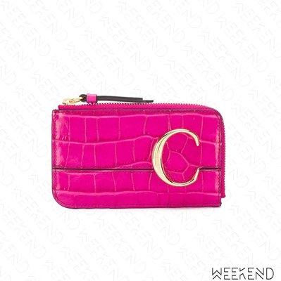 【WEEKEND】 CHLOE Small C Logo 小款 鱷魚紋 皮革 皮夾 卡夾 長夾 桃粉色 19秋冬