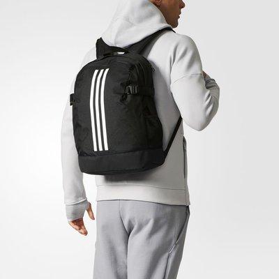 # Adidas 3-Stripe 黑白 三條線 小LOGO 水壺袋 大容量 後背包 書包 筆電包 BR5864 YTS