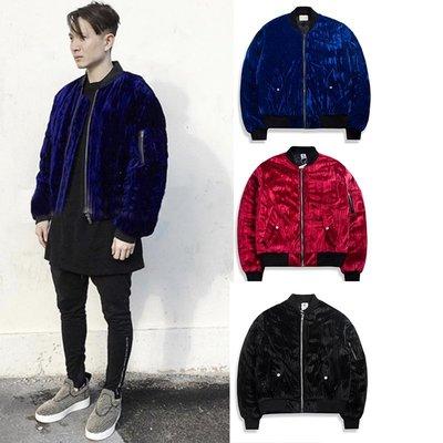 ∵ PRAY FOR FASHION ∴歐美high street絲絨面電光藍鋪棉保暖寬鬆MA1飛行夾克短款鋪棉外套