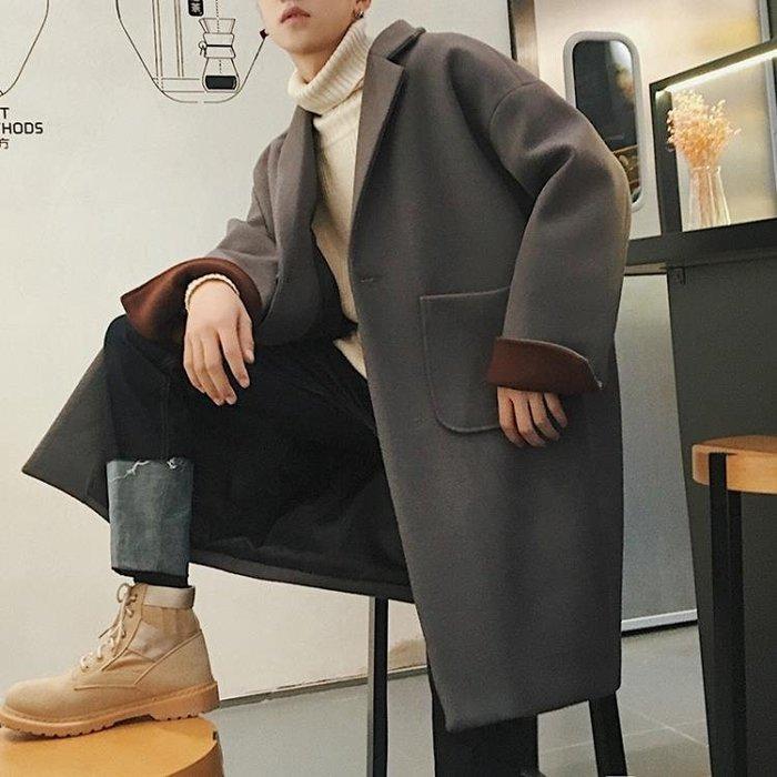 秋冬男士毛呢大衣寬鬆日韓落肩學生中長款風衣呢子外套潮