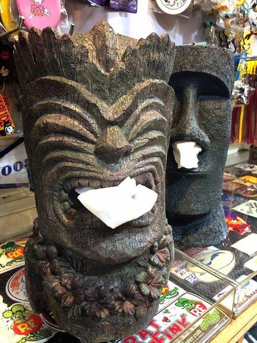 (I LOVE 樂多) 日本進口 夏威夷守護神 TIKI 立體造型 站立式面紙盒 實品精緻有份量 送人自用兩相宜