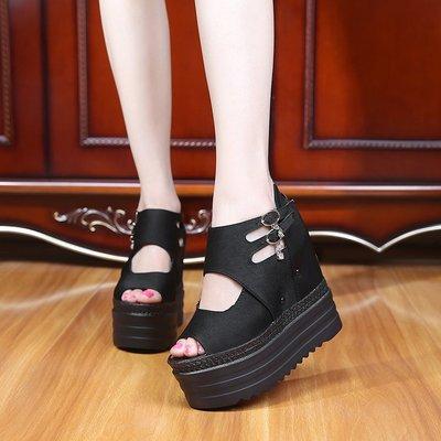 魚嘴鞋魚嘴涼鞋鬆糕厚底內增高坡跟防水台超高跟女鞋羅馬鞋夏季