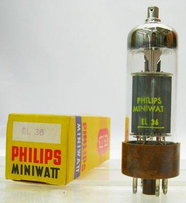︽NO:9747 英國 PHILIPS Miniwatt EL36 NIB 真空管 一支600元 十字印模 棕色底座