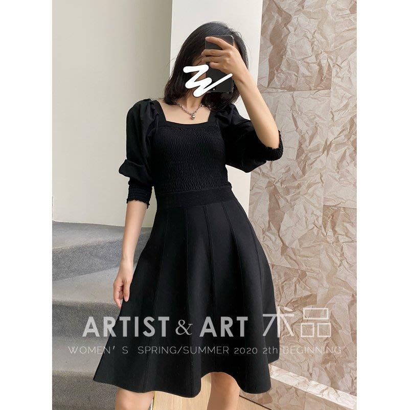 歐洲直送 名品  法式輕奢 多種織法修身顯瘦露鎖骨黑色質感針織公主袖洋裝