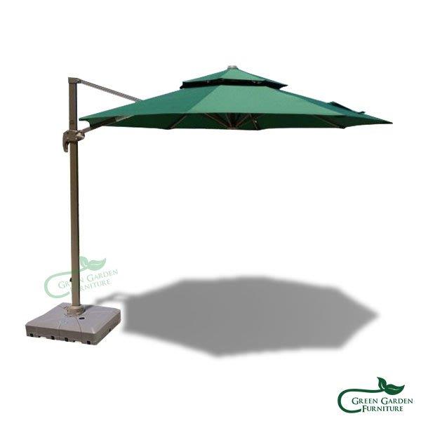 10呎圓形羅馬傘(雙頂/墨綠)【大綠地家具】遮陽傘/陽傘/庭園傘/可收合/任意角度遮陽(不含傘座)