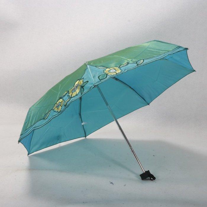 奇奇店-變色龍布料花朵刺繡五折口袋迷你女士折疊晴雨傘防紫外#加固 #小清新 #晴雨兩用