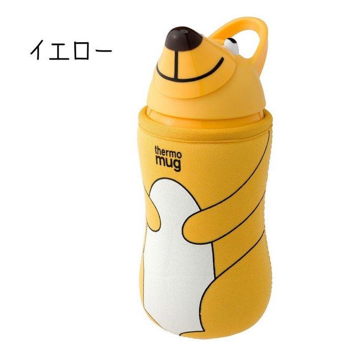 。小森親子好物。日本thermo mug動物造型水壺(另贈送替換吸管)黃色熊 380m(l現貨)【KF16030001】
