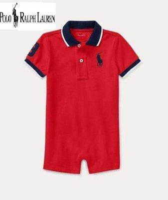 美國正品 【Polo Ralph Lauren】 繡大馬、數字3  紅色短袖連身裝 / 12M