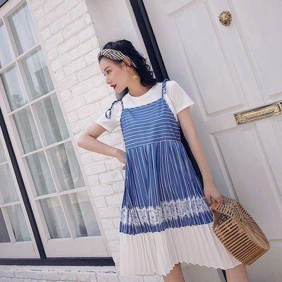 藍色橫豎條紋吊帶裙蕾絲拼接百褶裙高腰大擺裙海軍風連衣裙夏
