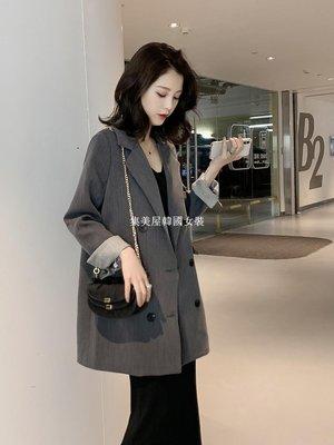 集美屋韓國女裝春季2019新款復古英倫風雙排扣灰色休閒小西裝女chic寬松西服外套