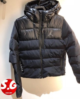S.G NIKE JORDAN 飛人 LOGO 連帽外套 保暖 羽絨外套 男款 黑色 924676-010