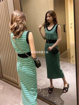集美屋韓國女裝2019夏季新款正韓針織背心+包臀半身裙套裝女神范修身氣質兩件套