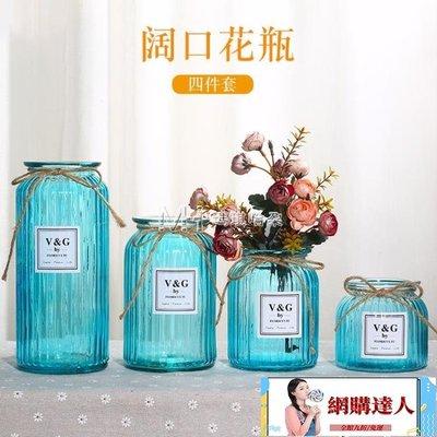創意擺件  玻璃花瓶擺件歐式田園餐廳透明玻璃水培花瓶創意插花瓶【網購達人】
