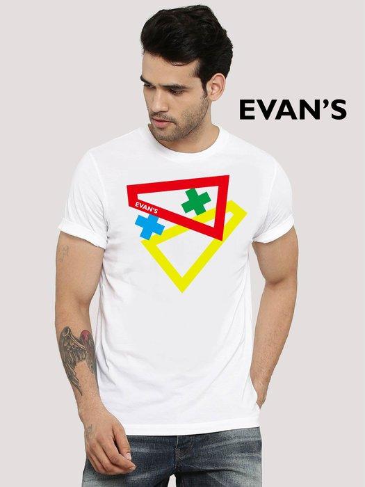 EVAN'S 設計款 - 同框 T恤 ( 白 / 灰 / 藍 )