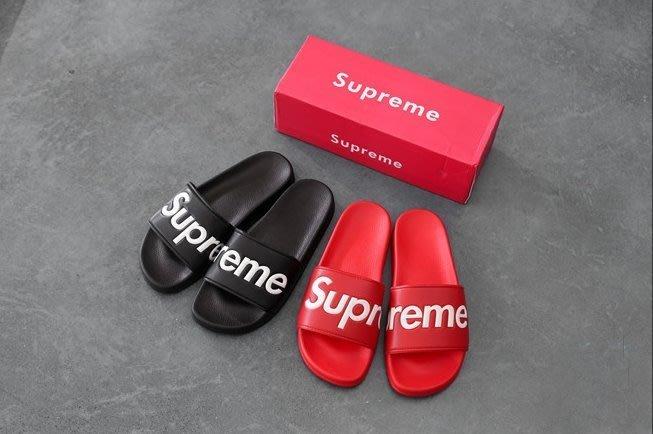 Supreme歐美街頭潮牌夏季情侶款男女真皮黑紅色拖鞋沙灘厚底涼拖