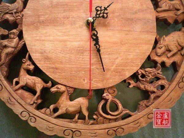 樟木/手工雕12生肖時鐘