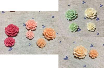 桃紅 粉紅 橘色 綠色 白色 玫瑰花 造型DIY素材 袖珍小物 奶油殼 貼鑽 飾品材料 中+小2入素材包 (現貨)