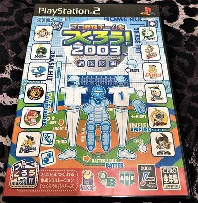 幸運小兔 PS2遊戲 PS2 職棒野球 隊伍育成 2003 實品內有說明書 日本職棒 野球魂 實況野球 日版遊戲 A5