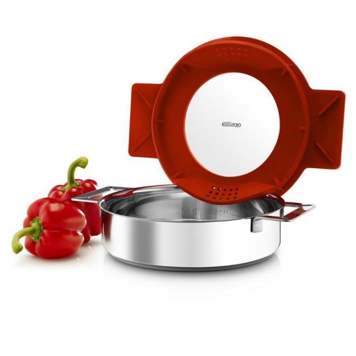 =86號店=北歐EVA SOLO 鏡面抛光不銹鋼重力鍋 多功能排氣矽膠鍋蓋 灰/紅如圖色